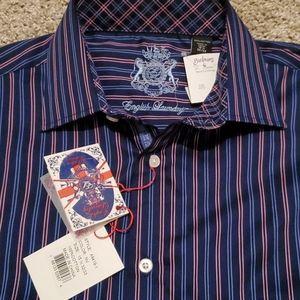 English laundry 15.5 medium shirt blue w/ pink